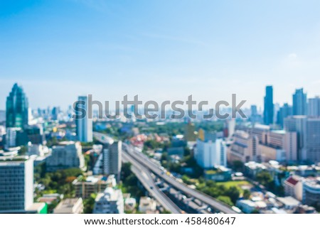Abstract blur bangkok city skyline in Thailand for background