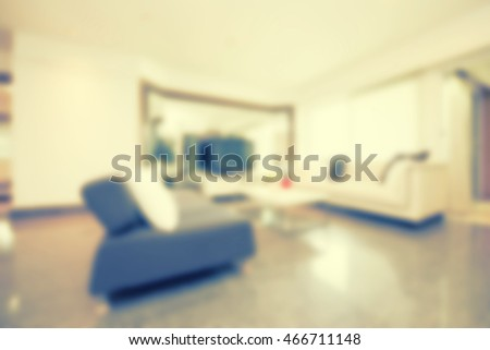 Abstract blur beautiful iving room interior for background - Vintage Light Filter