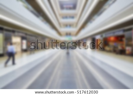 Abstract blur beautiful luxury shopping mall center and shop retail store for background