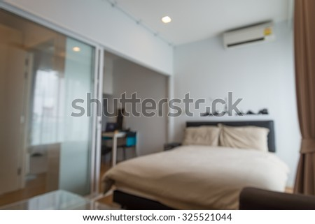 Abstract blur bedroom in morning background - stock photo