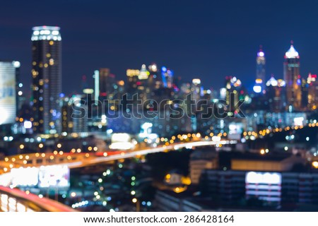 Abstract blur bokeh city night lights - stock photo
