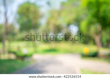 Abstract blur chair in city park bokeh background - stock photo
