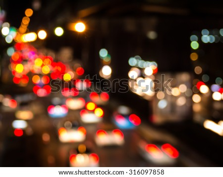 Abstract blur city night traffic background. - stock photo