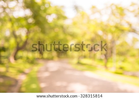 Abstract blur city park  with warm lighting background - stock photo