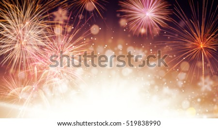 Abstract blur colored firework background with free space for text