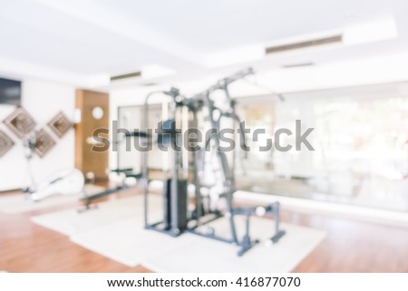 Abstract blur gym and fitness room interior for background - Vintage light Filter