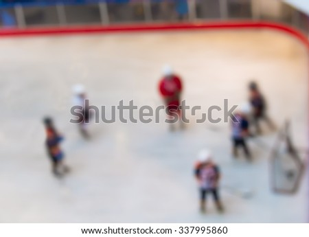 Abstract blur ice hockey match game.