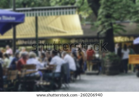 abstract blur in Beer garden in Bavaria, Germany - stock photo
