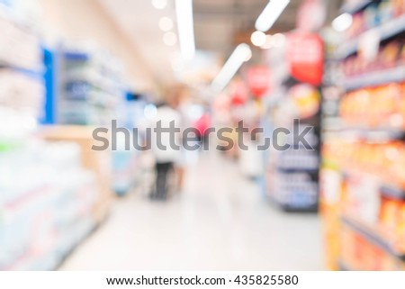 abstract blur in supermarket for background - stock photo