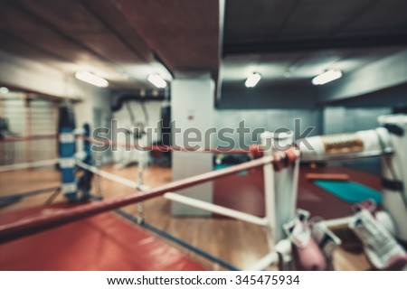 abstract blur interior Empty hall for boxing in the gym - stock photo