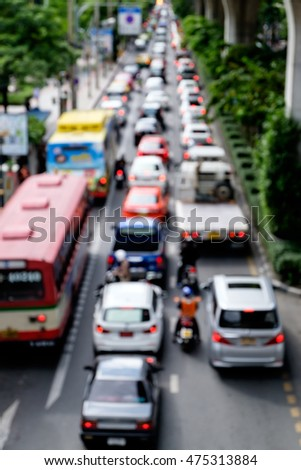 Abstract Blur of Traffic jam in rush hour