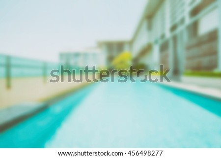 Abstract blur Outdoor swimming pool -Vintage filter