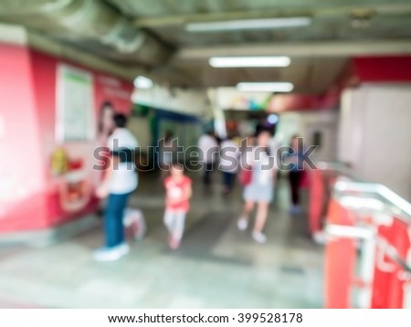 abstract blur people at the sky train station. - stock photo