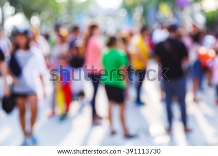 Abstract blur people in outdoor activity, modern lifetyle - stock photo