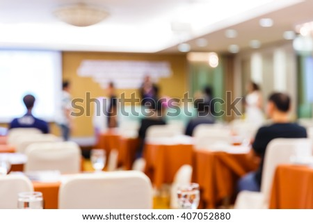 Abstract blur people lecture in seminar room, education or training concept - stock photo