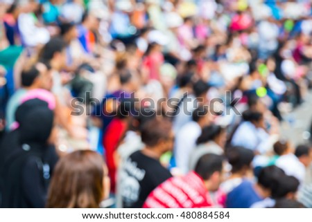 Abstract blur people on grandstand watching show or sport