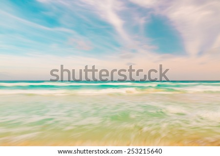 Abstract blur sky and ocean nature background with blurred panning motion - stock photo