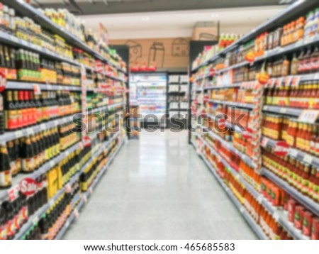 Abstract blur supermarket interior for background