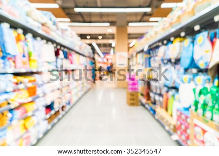 Abstract blur supermarket store interior background
