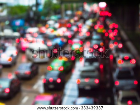 Abstract blur traffic jam in bangkok thailand.