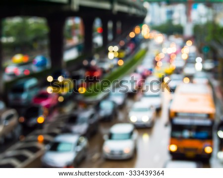 Abstract blur traffic jam in bangkok thailand. - stock photo