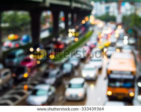 Abstract blur traffic jam in bangkok thailand. - stock photo