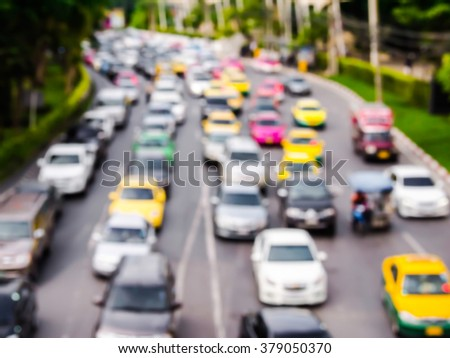 abstract blur traffic jam in the city. - stock photo