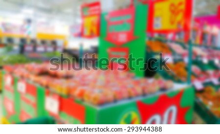 Abstract blur vegetable and fruit  in supermarket - stock photo