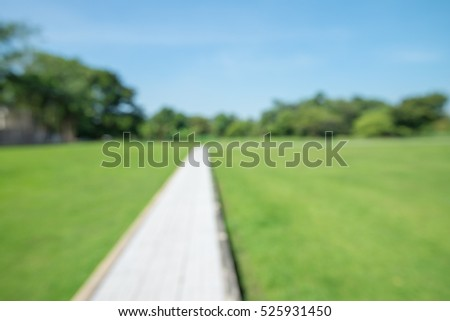 Abstract blur walkway in city park bokeh background