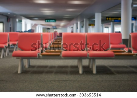 abstract blurred airport terminal - stock photo