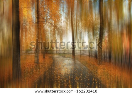 abstract blurred autumn landscape - stock photo