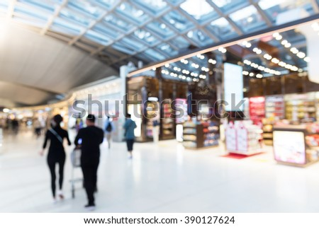 Abstract Blurred background : airport shopping tax free area - stock photo
