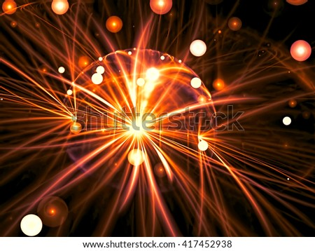 Abstract blurred background - computer-generated image. Chaos bubbles and curves on a dark background. Fractal artwork for web-design, banners, posters. - stock photo