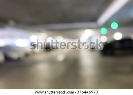 Abstract blurred background of  car in parking lot - stock photo