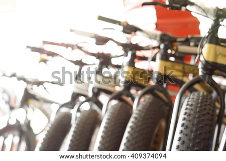 Abstract blurred background of fat bikes - stock photo