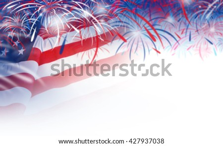 Abstract blurred background of USA flag and fireworks - stock photo