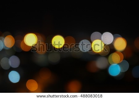 Abstract blurred bokeh city elevated intersection night view