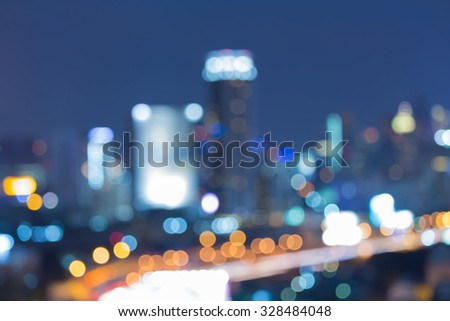 Abstract blurred bokeh city night lights background - stock photo
