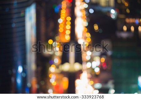 Abstract blurred bokeh lights city downtown road busy hour - stock photo