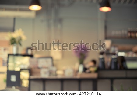 Abstract blurred image bar and counter in coffee shop, Vintage tone - stock photo