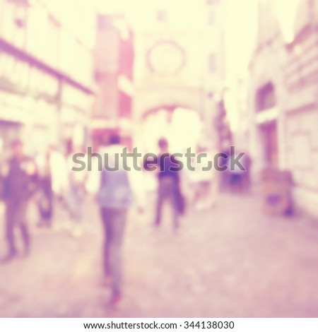 Abstract blurred image of a city street scene. - stock photo