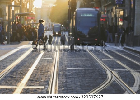 Abstract blurred image of a city street scene in Bordeaux, France