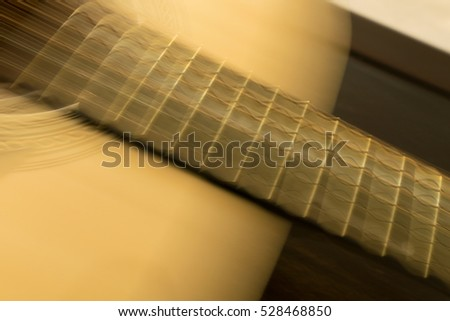 Abstract blurred image of acoustic guitar