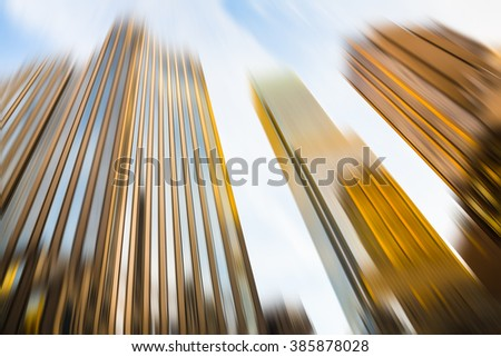 Abstract blurred image of modern Manhattan architecture - stock photo