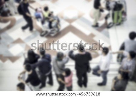 Abstract blurred image of people in the subway station for background. - stock photo