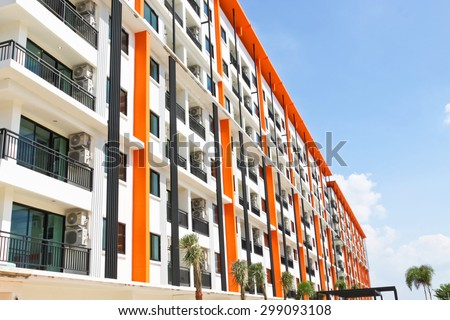 Abstract Blurred New building condominium., Modern apartment complex exterior soft focus - stock photo