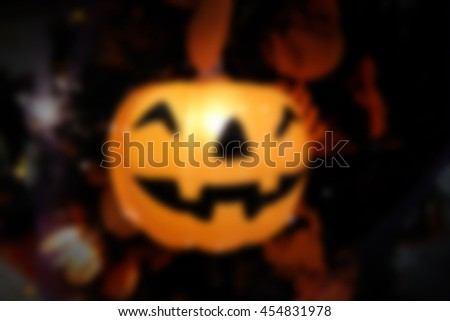 Abstract blurred of pumpkin Lantern, Halloween background. - stock photo