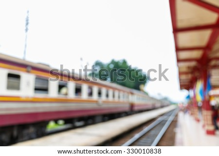 Abstract blurred old style train station, rural traveling concept - stock photo