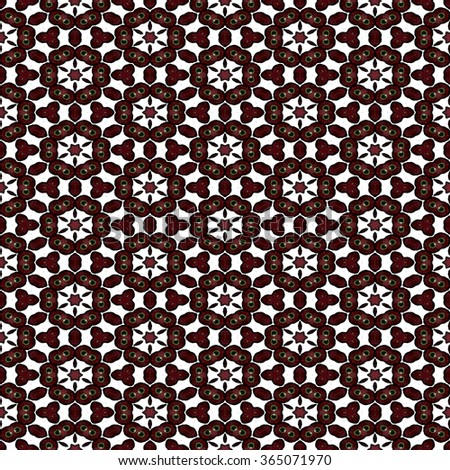 Abstract blurred paisley red ornament. Seamless pattern or textures. Kaleidoscopic orient popular style