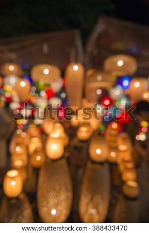 Abstract blurred paper lantern - Hoi An Acient Town, Vietnam - stock photo